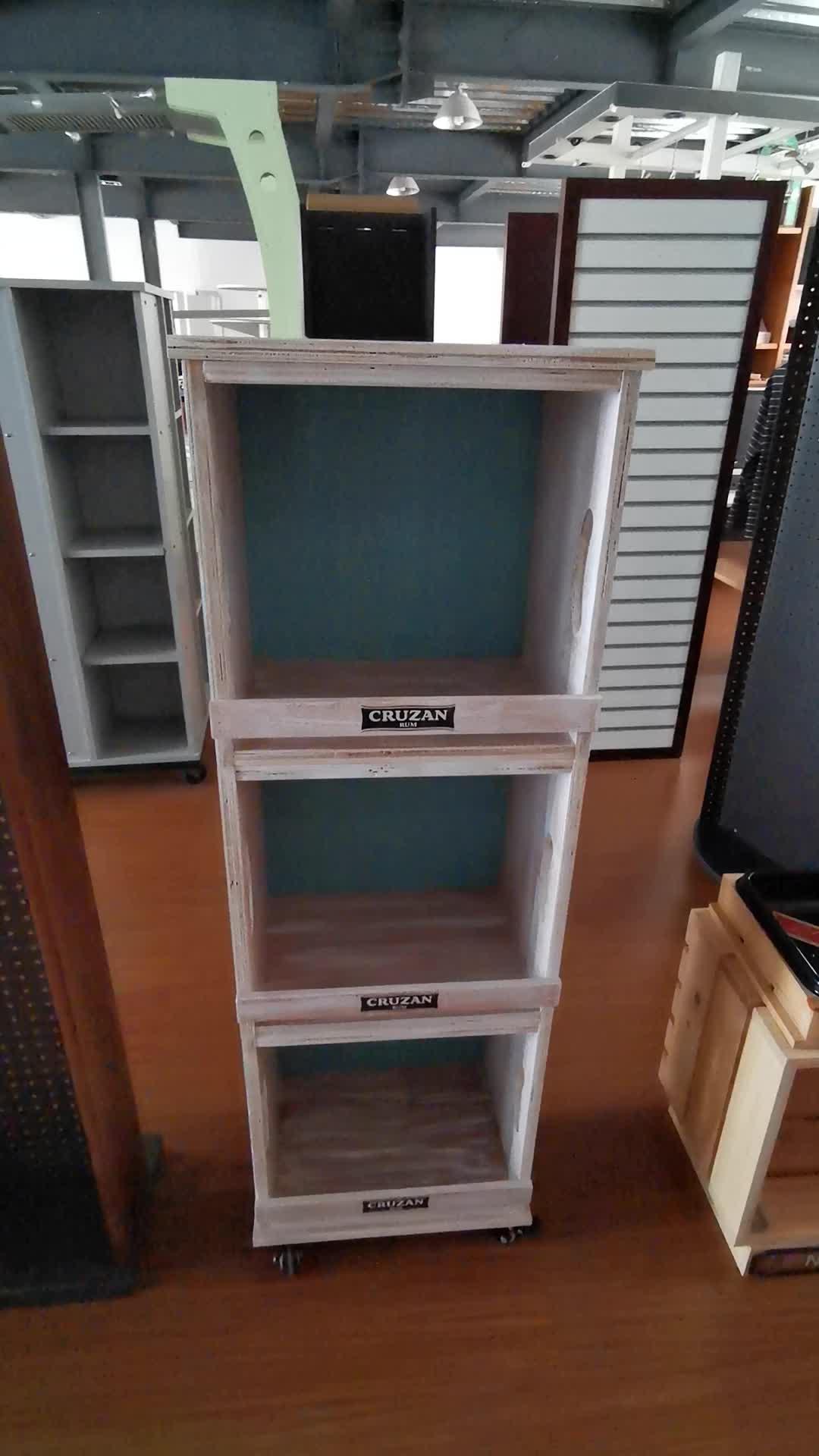 القابلة للإزالة 4 الجانب الدائر slotwall الخشب رف عرض المستحضرات التجميلية مع عجلات