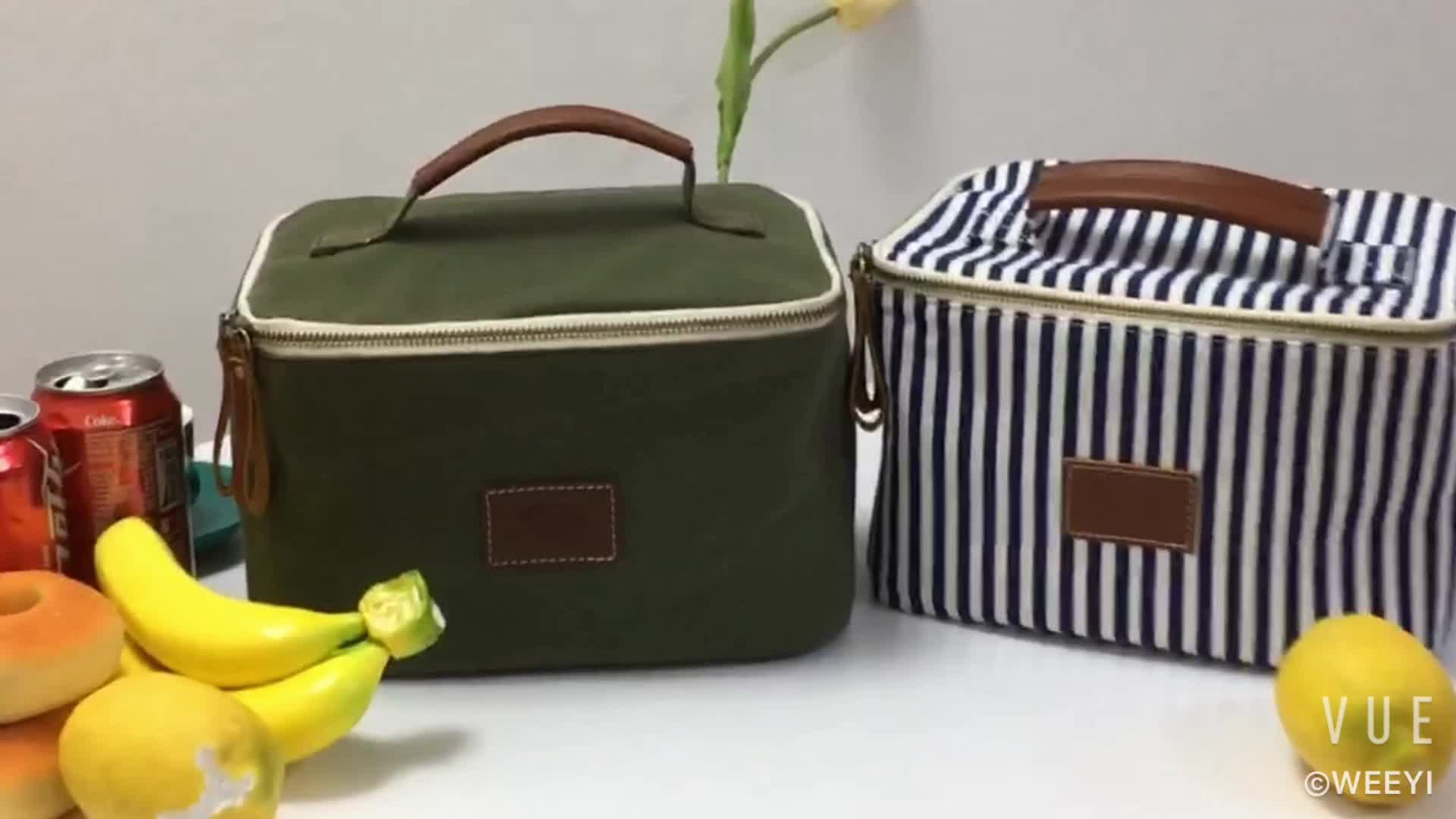 Waxed Canvas Large Inner Cooler Lunch Tote Bag With Leather Handle