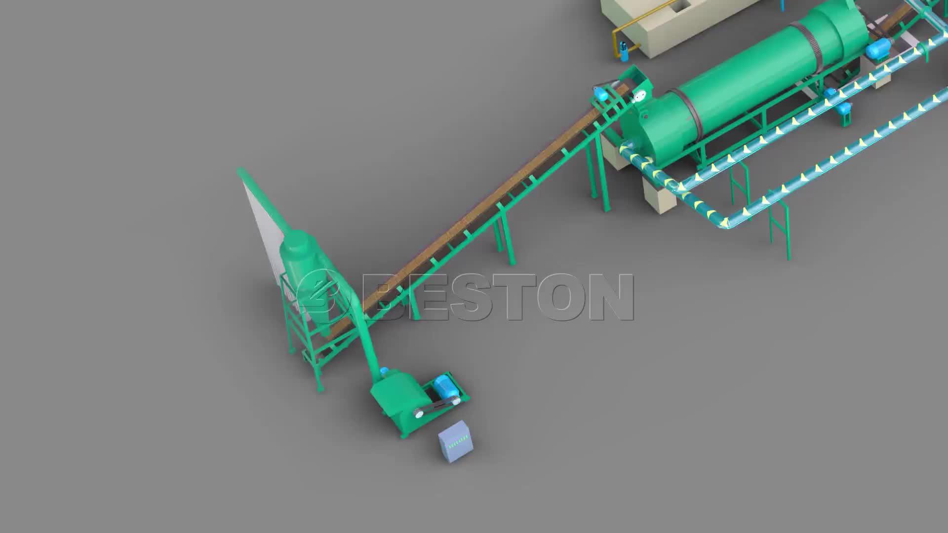 Beston BST-05 0.5-1 T/H pequeno tomada de carvão de madeira forno de carbonização
