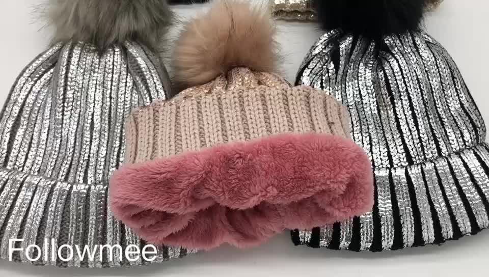 fd9c699b517 Woolen knitted Real Fur Bobble Hats Women Winter Caps Girls Sex Hats Caps