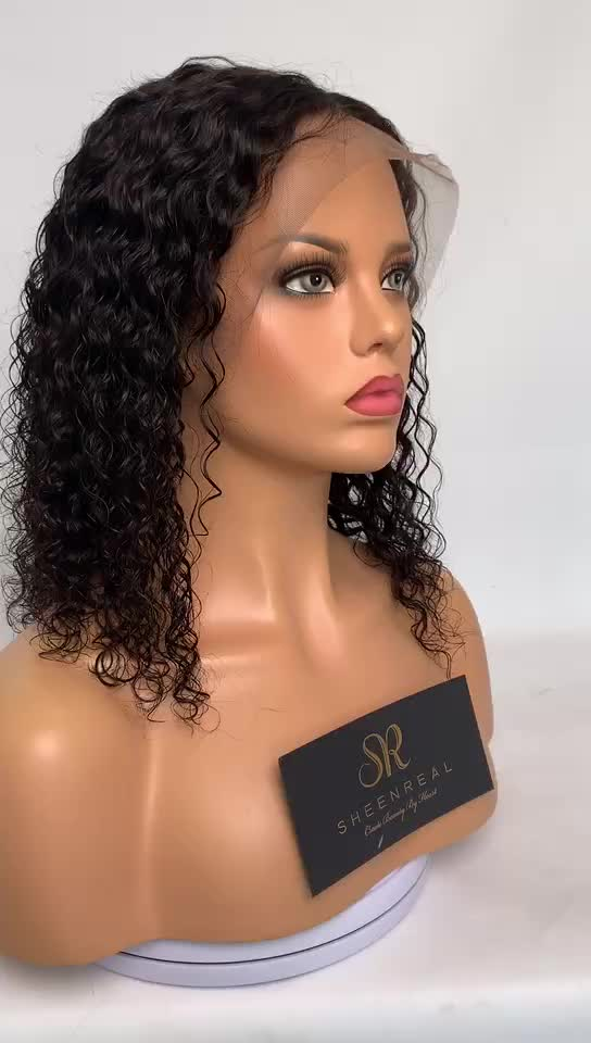 Fast delivery 100% virgin human hair wet curls human hair bob lace front wigs