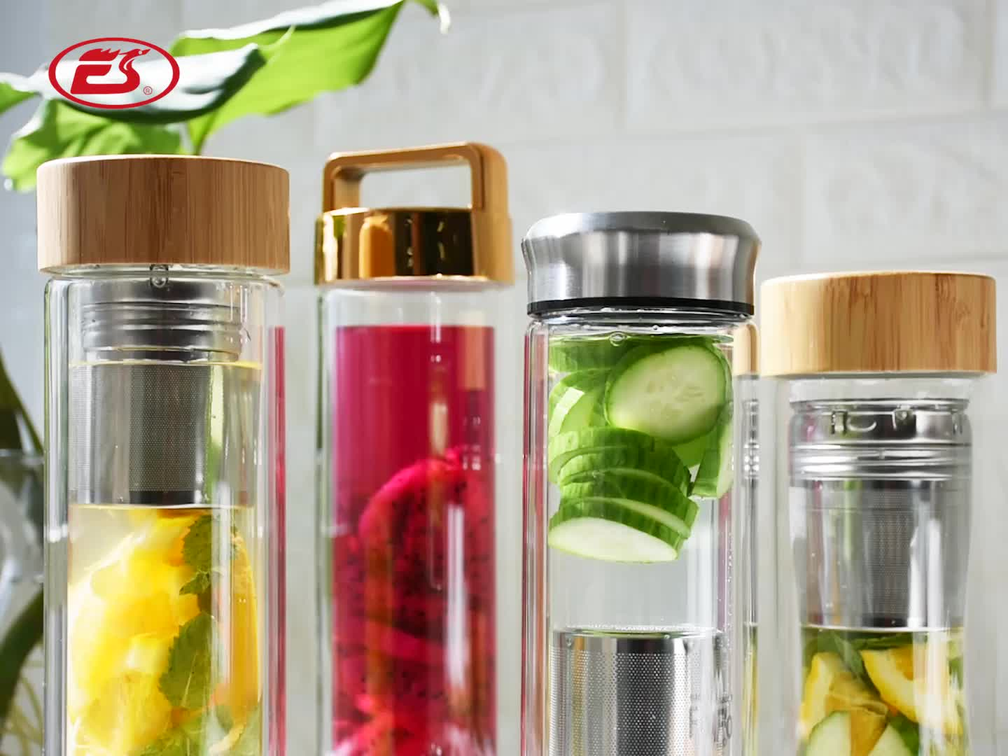 EG502 300ML/12OZ Eco-friendly leisure drinking glass water bottle with tea infuser