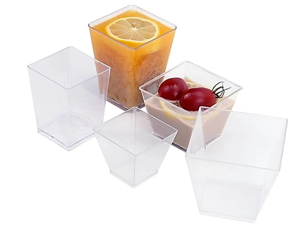 High Quality Disposable Square Mini Cube Clear Tasting Plastic Dessert Cup