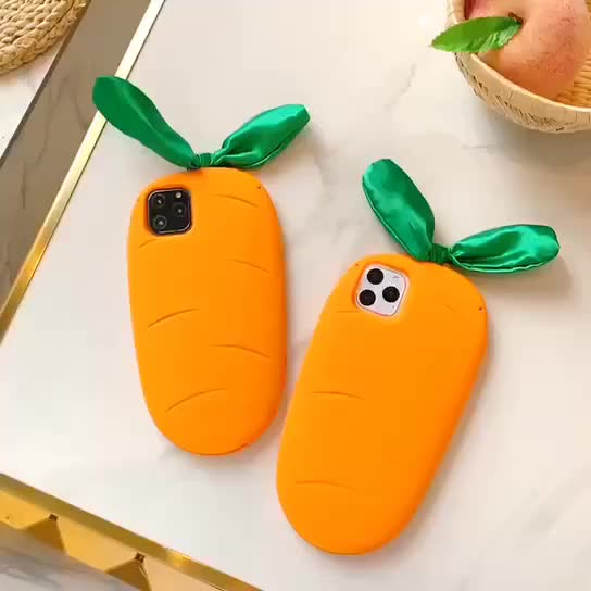 3D Cute Silicon Carrot Phone Case for Iphone 11 pro max 6 7 8 Plus Xr XSMax Soft Case Anti-knock Full Protection Back Cover Capa