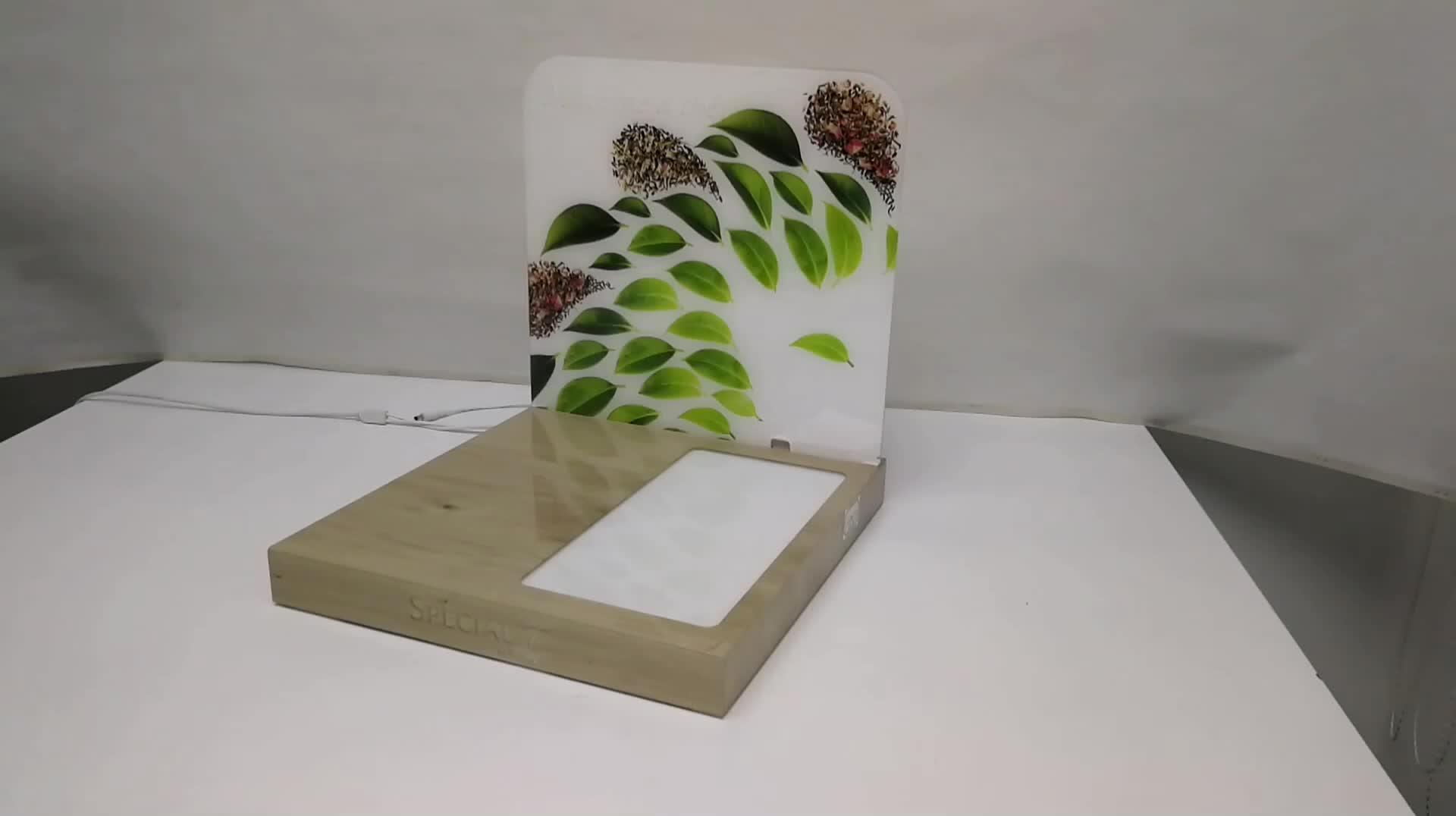 Custom Verlichte Acryl Teller Display Stand met LED Verlichting voor Koffie Machine Acryl L display Rack