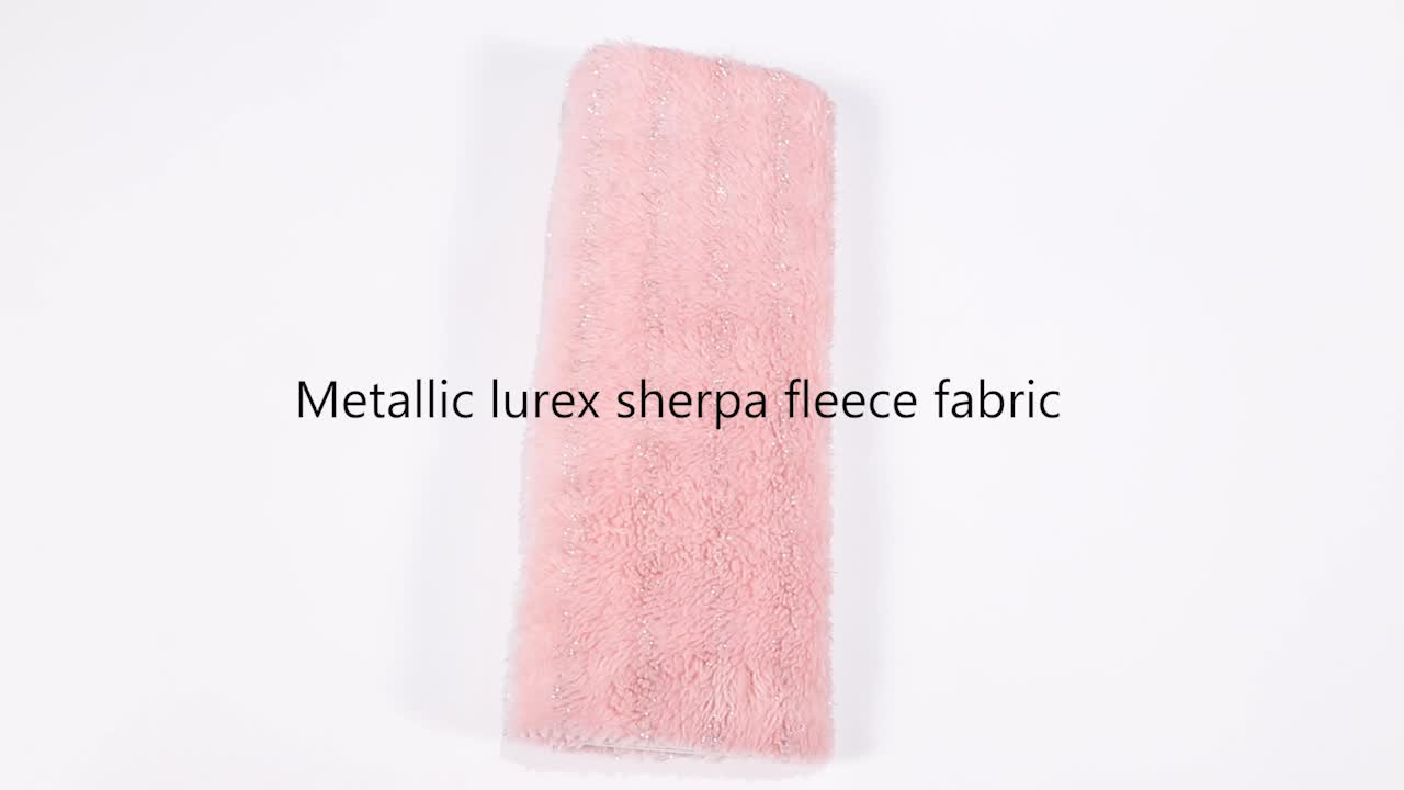 China Factory Pink Double Sides Polyester Soft metallic Shu velvet Fabric For Sweater