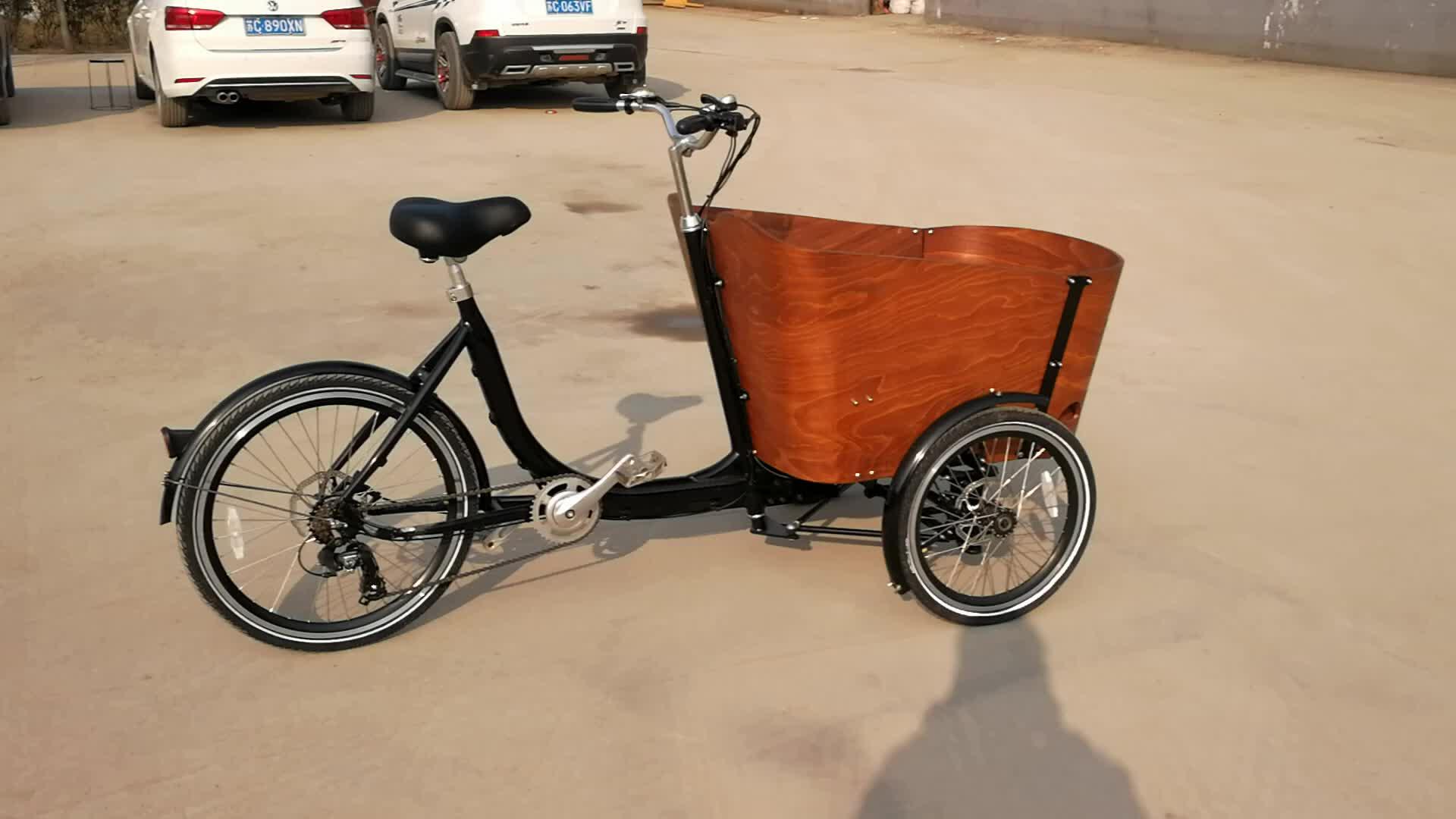40-60 km טווח לכל כוח 36 מתח מתקפל אופניים חשמליים תלת אופן מטען עם קופסא עץ יפה במחיר המפעל