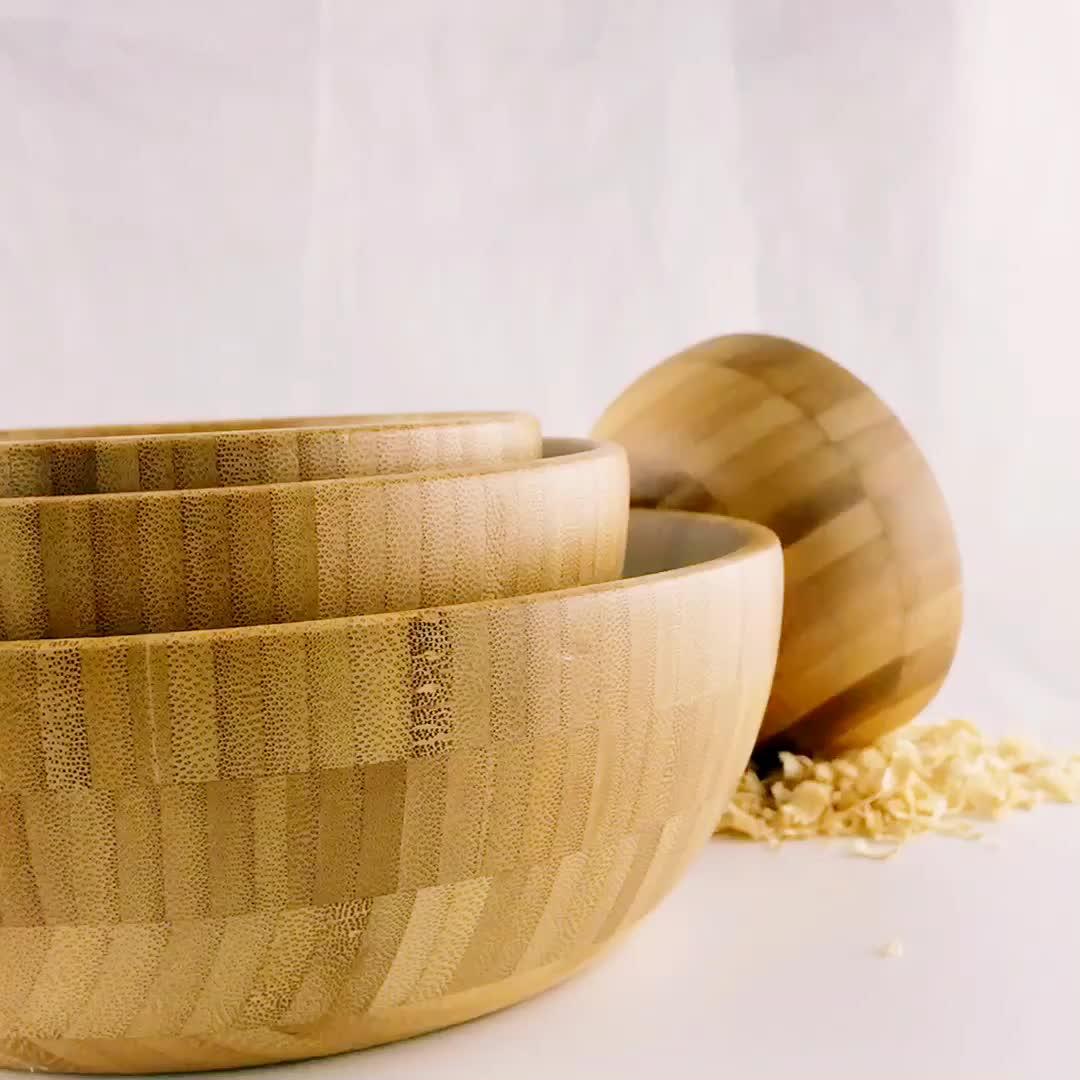 Dayanıklı Doğal Bambu Kase Çevre Dostu Ahşap salata kasesi
