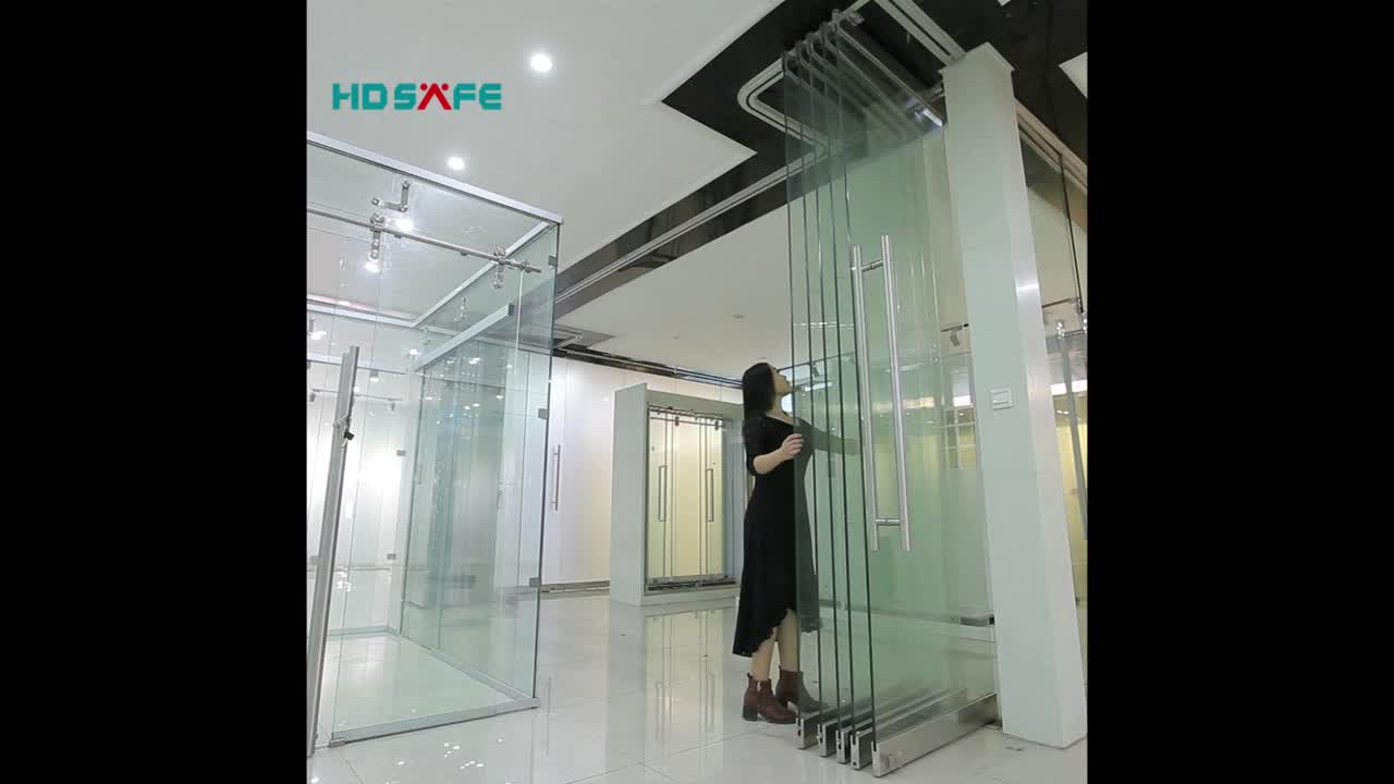 Comercial Safety Double With Drawals Glass Partition Door View