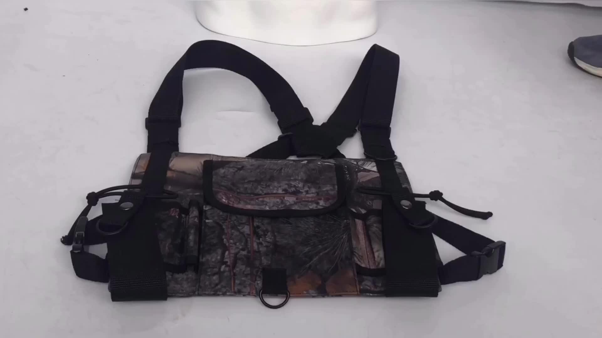 Camouflage Universal Radio Harness Vest with Adjustable Shoulder Chest