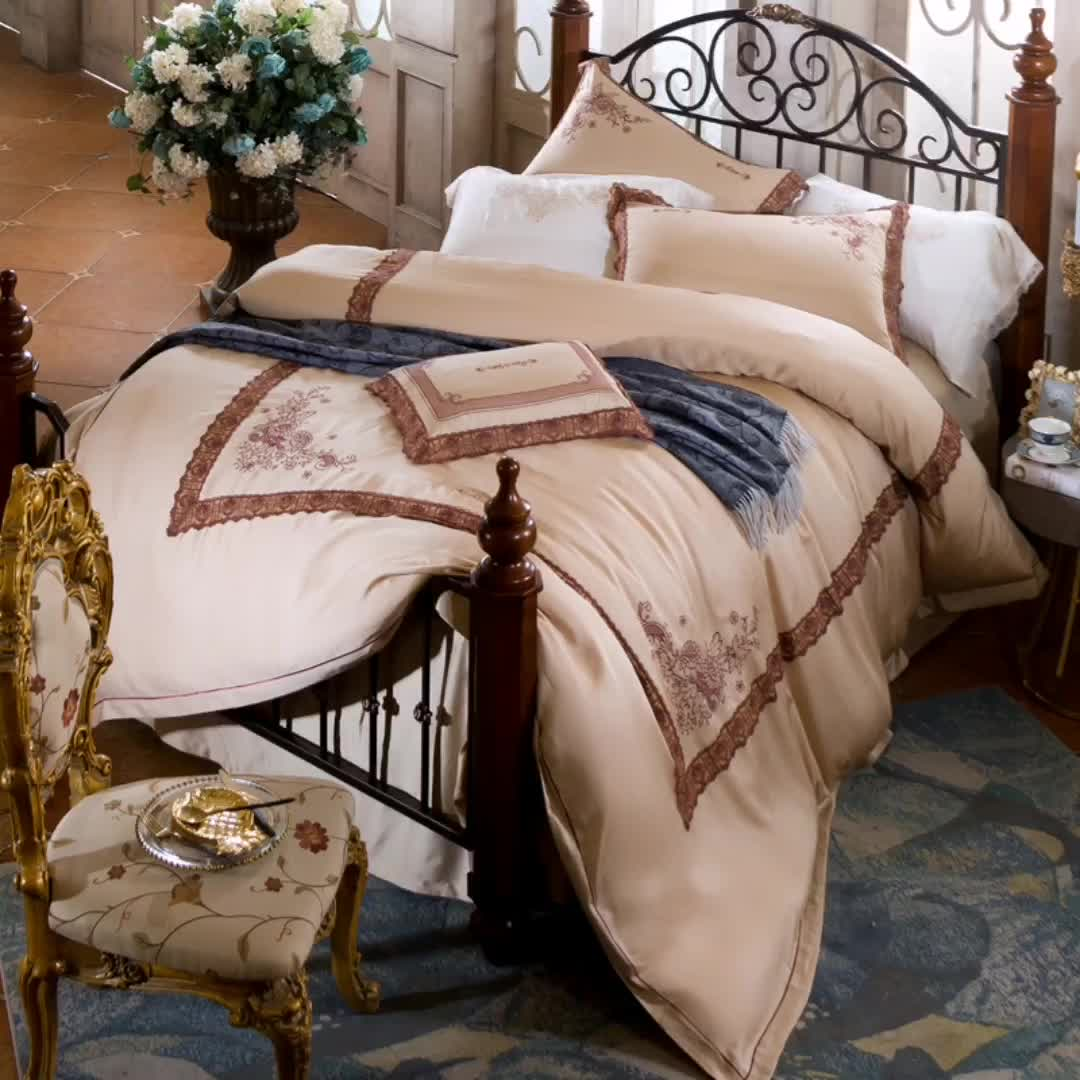 American style four-piece cooling tencel bedding set luxury lace embroidery