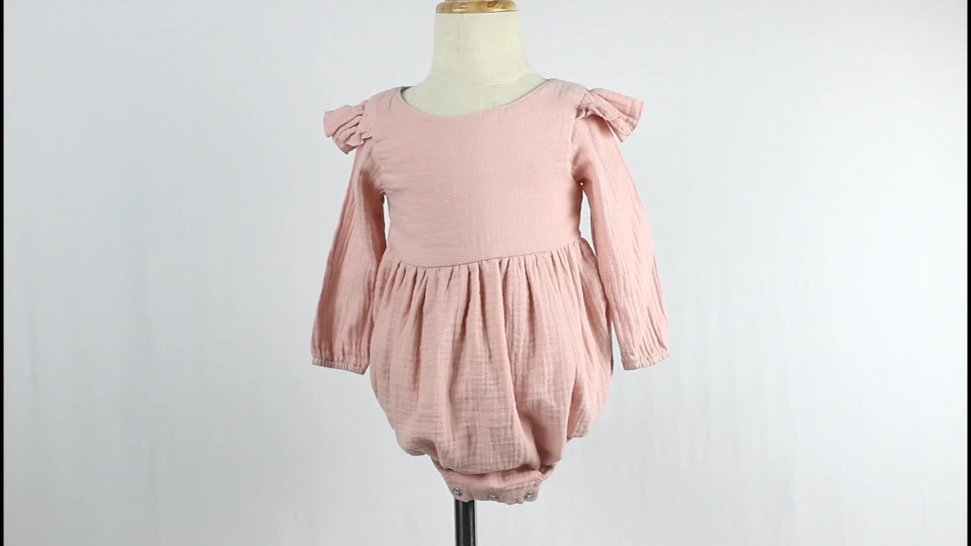 2020 Wholesale Baby Jumpsuit Good Quality Linen Fabric Handmade Ruffle Cute Flutter Sleeve Baby Rompers