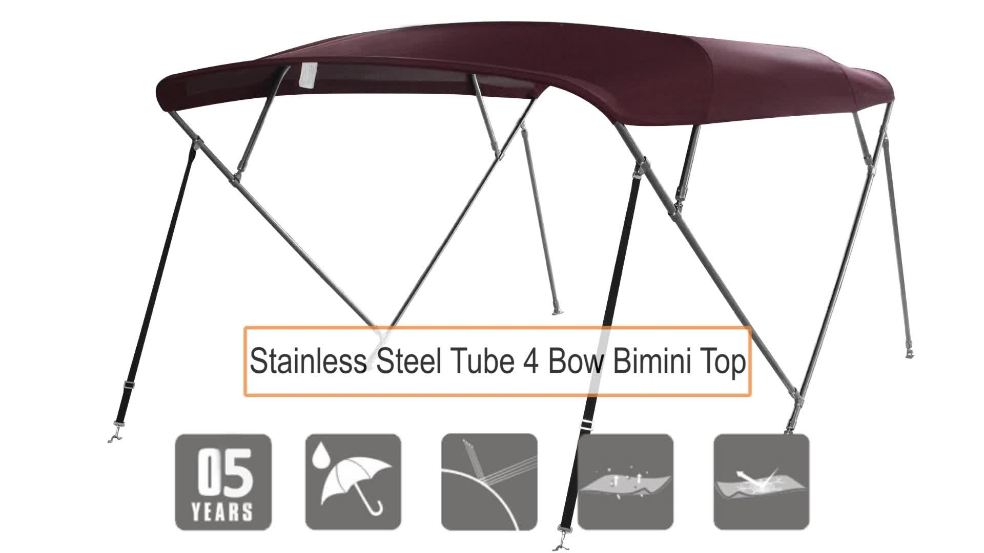 5 years color warranty 600D solution dyed 3 bow stainless steel Bimini Top Sun Canopy Cover