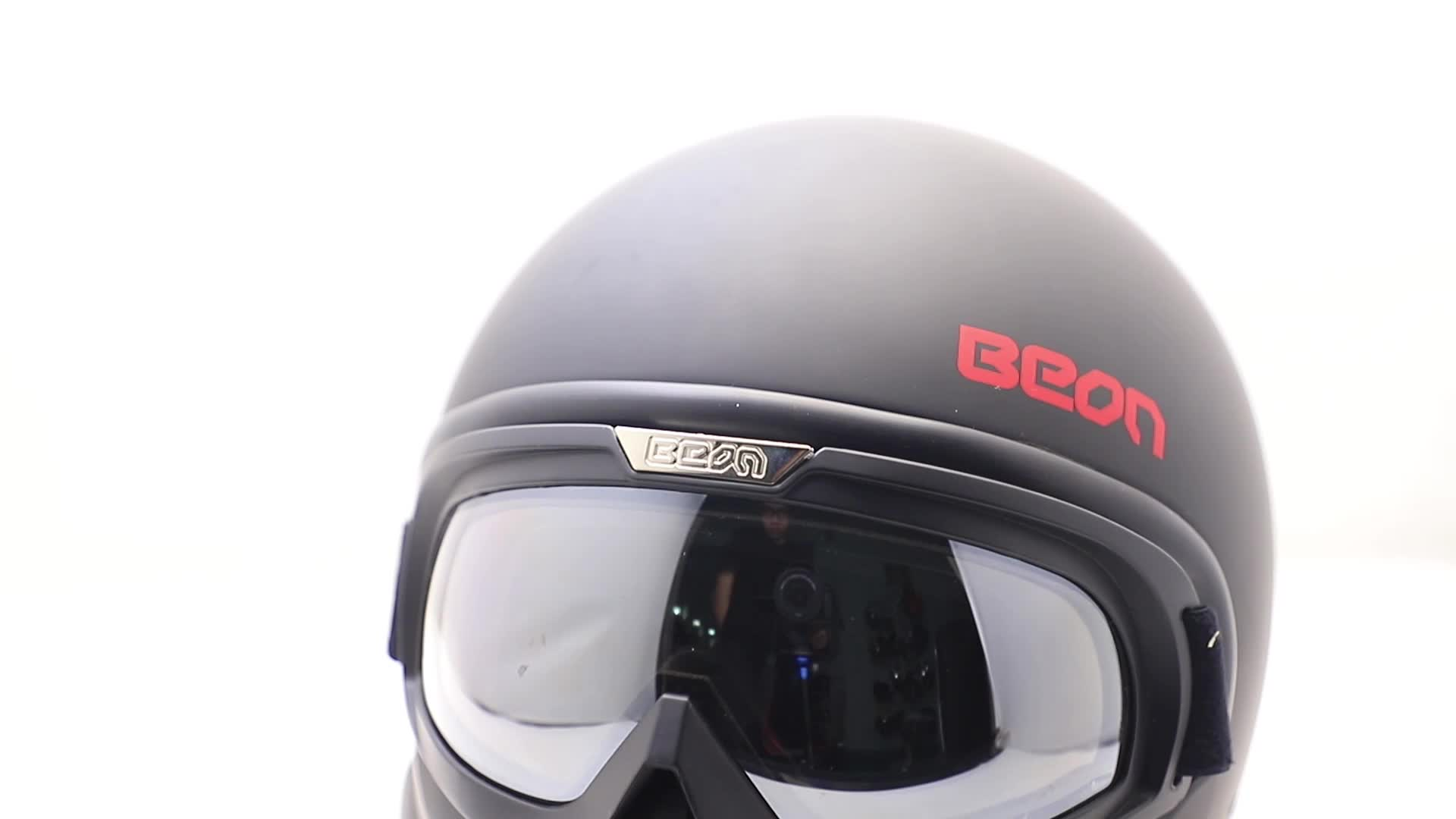 2020 BEON matte black full face motorcycle helmet ECE DOTopen face motorcycle helmet with removable googgles and chinguard