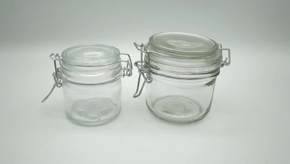 food safety airtight glass jars with hinged lids 250ml