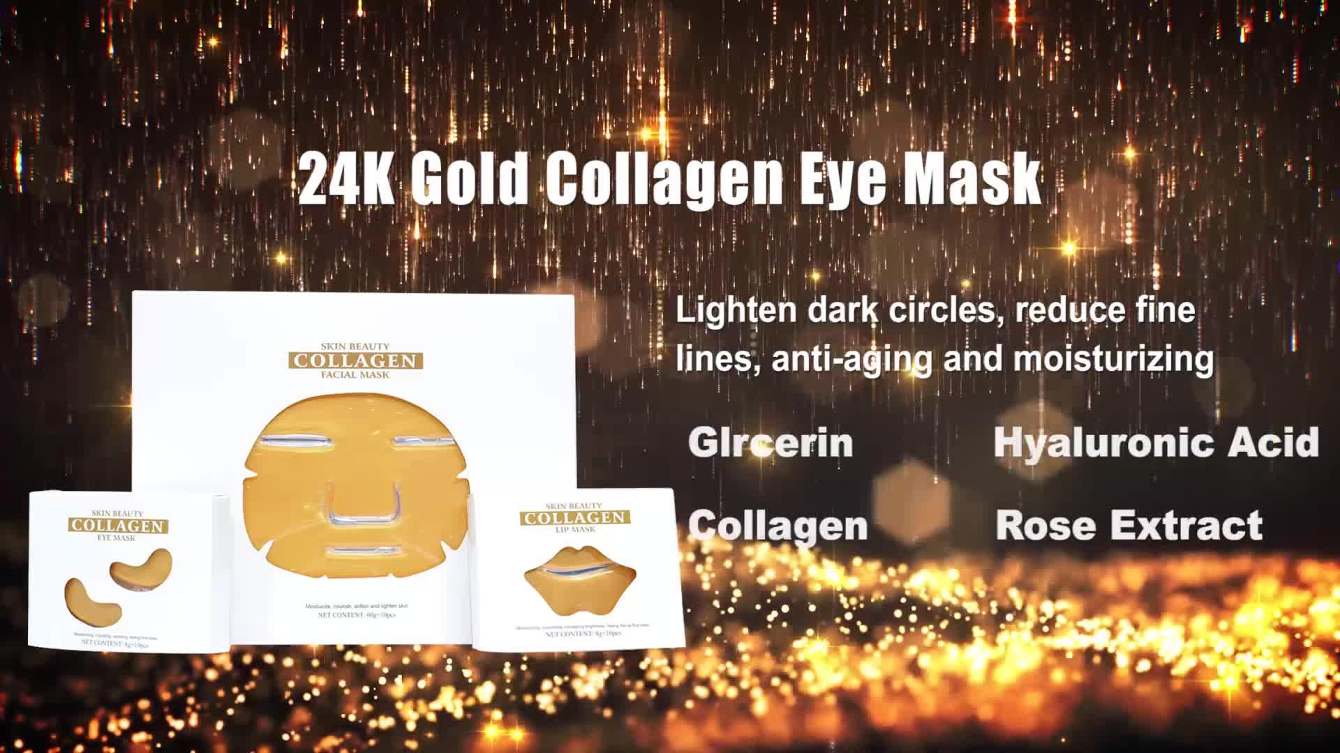 Commercio all'ingrosso Private Label Anti-invecchiamento di Cristallo 24 K del Collageno Maschera per Gli Occhi