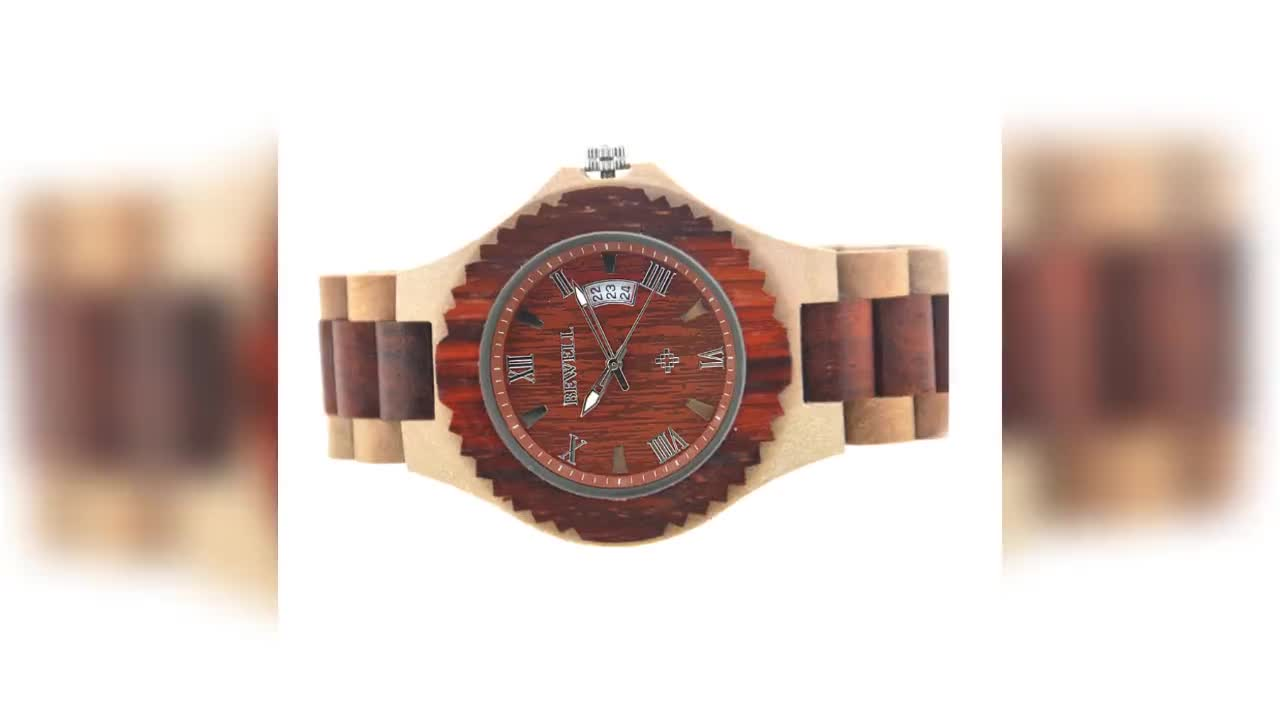 OEM Custom Anniversary Gift Engraved Wooden Men Watch Wristwatches for Husband Son Natural Ebony Customized Wood Watch