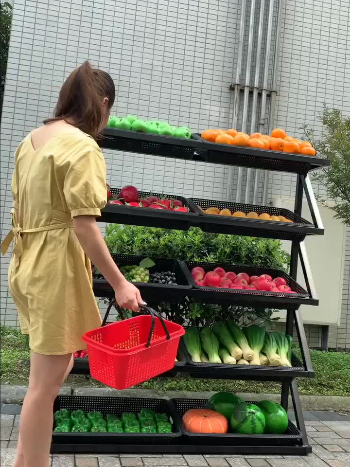 Folding single - sided   with plastic basket Low Price fruit rack for sale