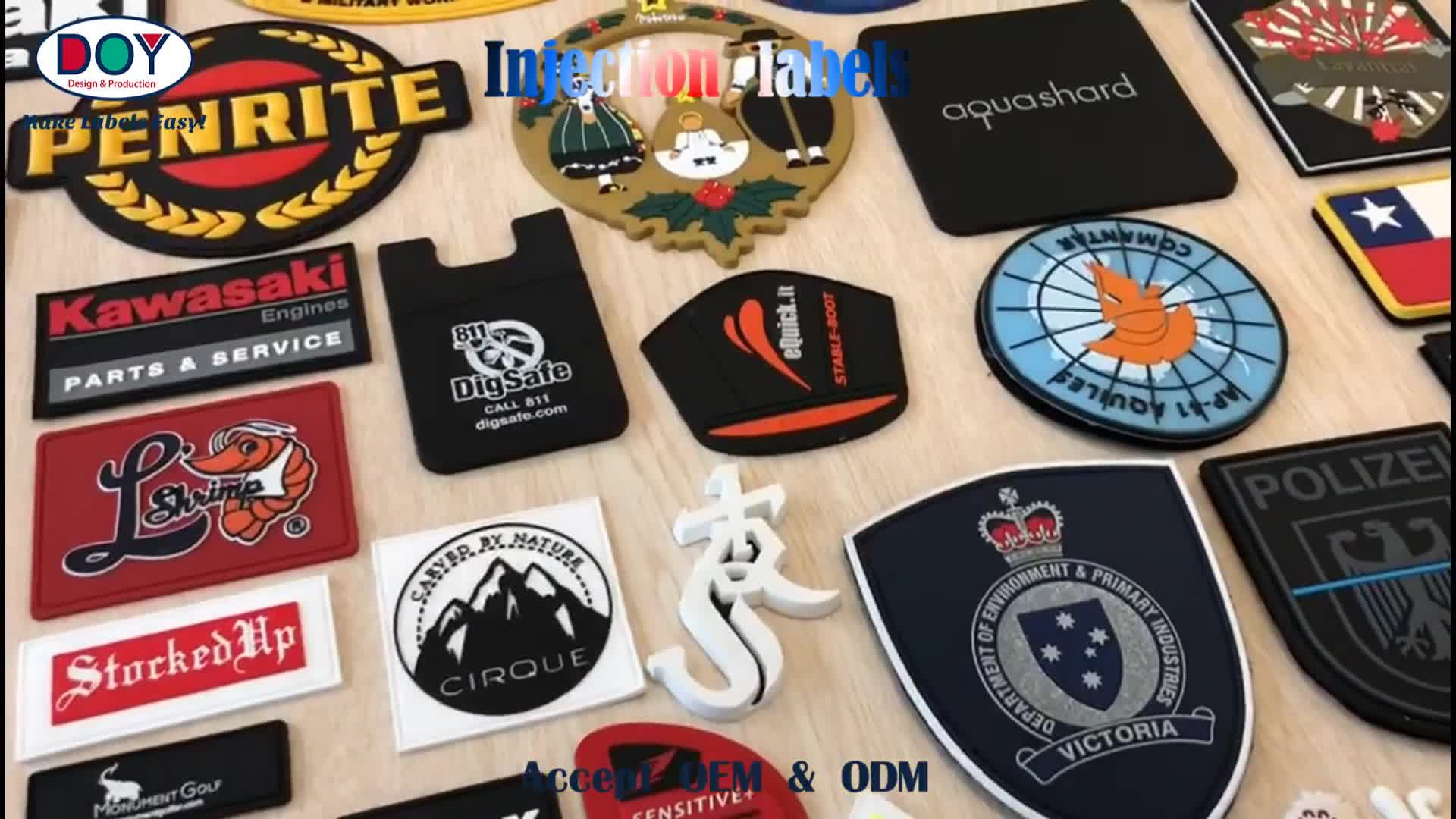 Wholesale Embossed Custom Name 3D Logo Soft PVC Rubber Patches Labels With Hook and Loop Fastener