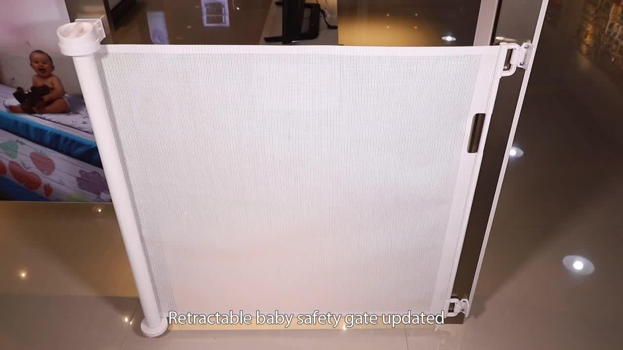Walk Thru Baby Gate Safety Metal White Doorway Infant Child Toddler Pet Dog Cat retractable baby gate