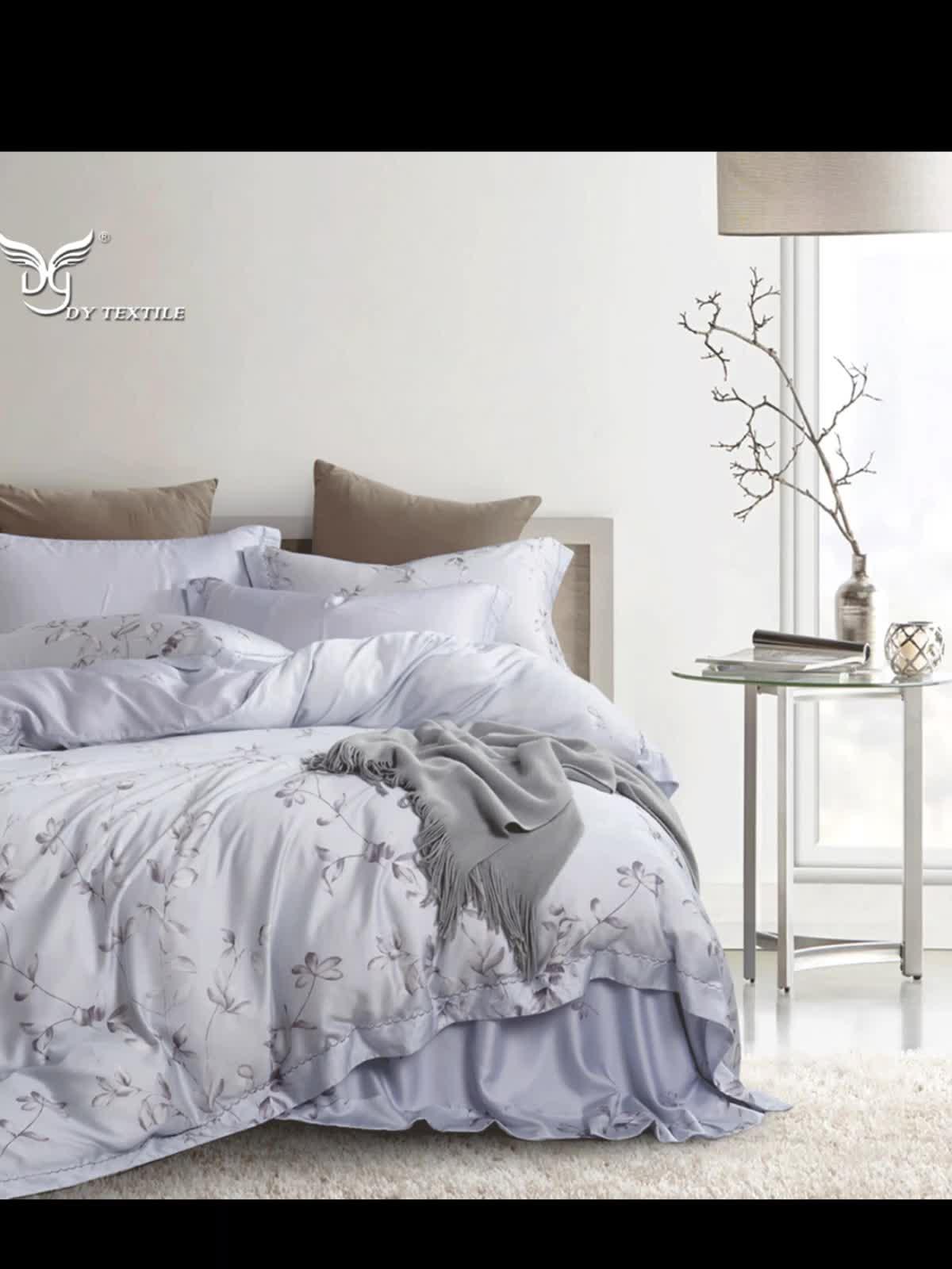 100% tencel hoa in 3/4 cái duvet cover và tấm ga trải giường quilt bộ đồ giường comforter set
