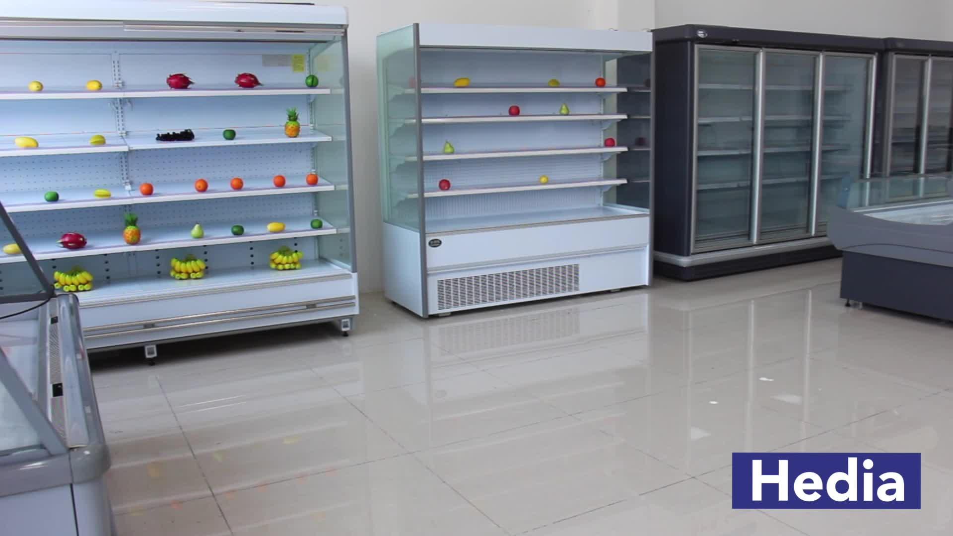 Wholesale auto defrost swing glass door frozen food freezer display 5 shelf for ice cream display