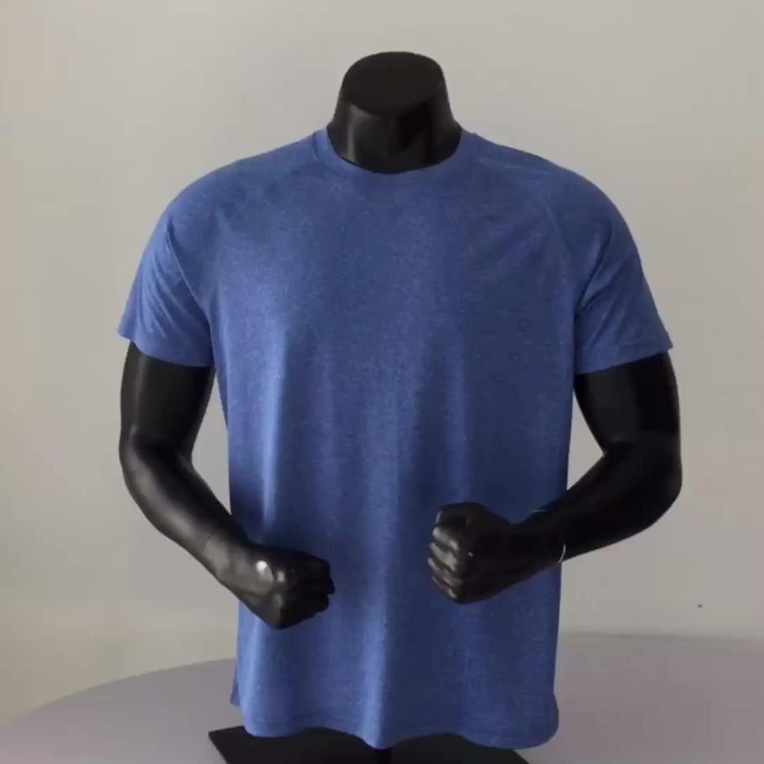 T-shirt noir en coton supima, vente en gros, ourlet incurvé