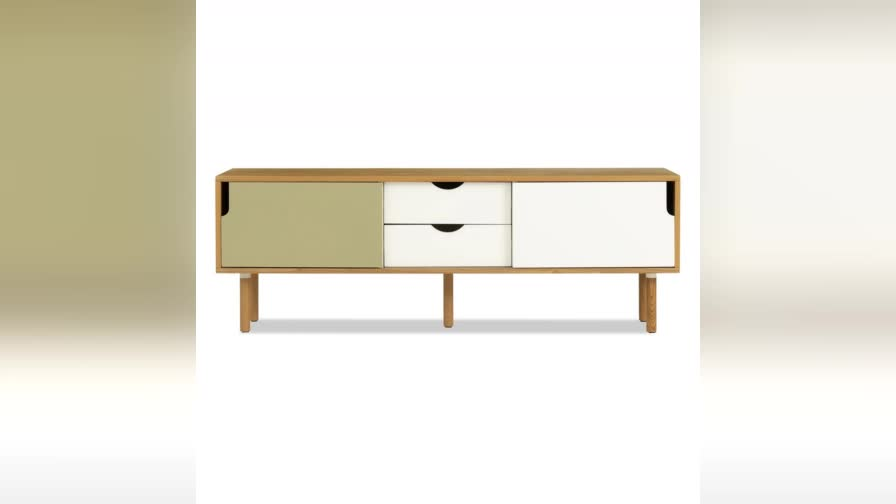TV stand manufacturer ash wood veneering and painting storage unit TV Console with 2 drawers