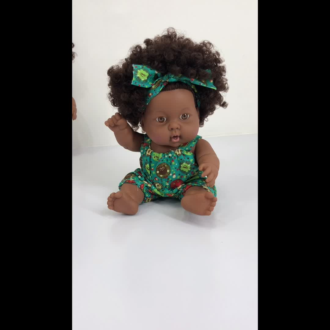 Best Selling  20 cm Real Lifelike Reborn  Vinyl African  Black Doll   American  Girl Doll With Afro Hair For Kids Toys