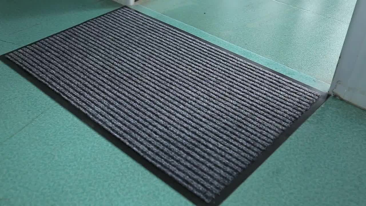 Hot sales classic entree antislip double-geribbelde deur mat met PVC backing
