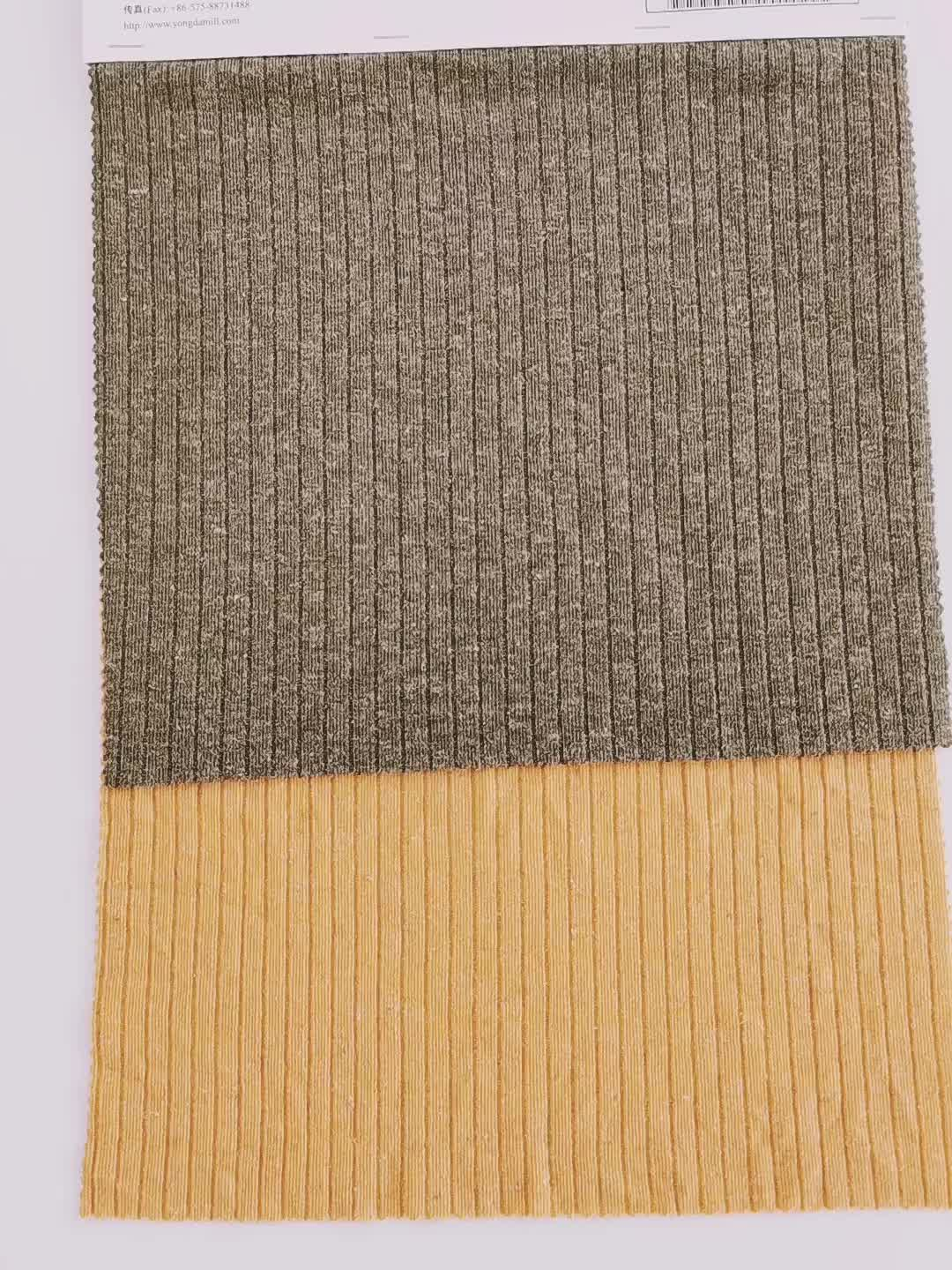 Wholesale crepe multicolor polyester knit rib stretch double yarn fabric