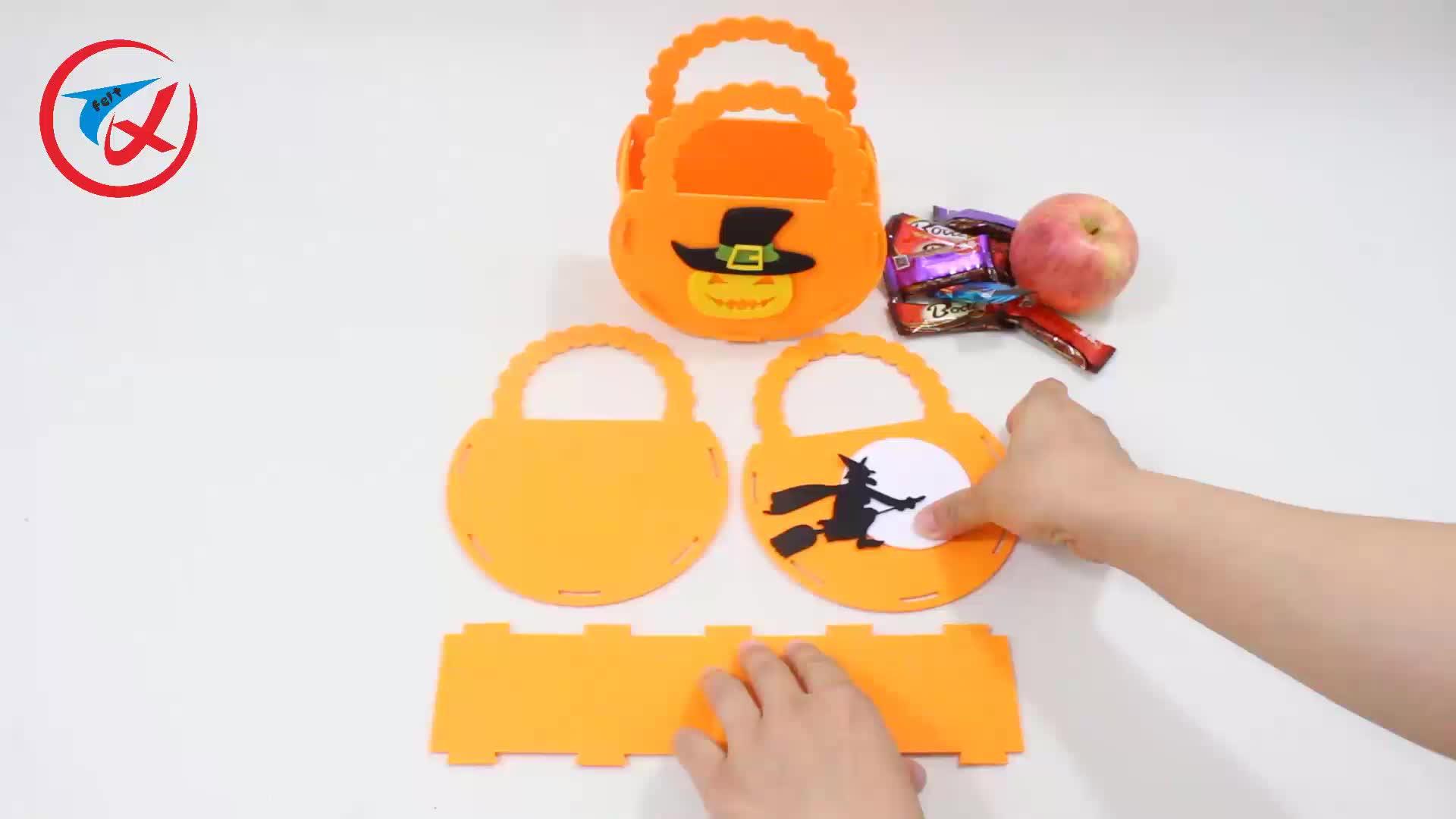 Vakantie decoratie halloween trick or treat tassen pompoen vilt draagtas