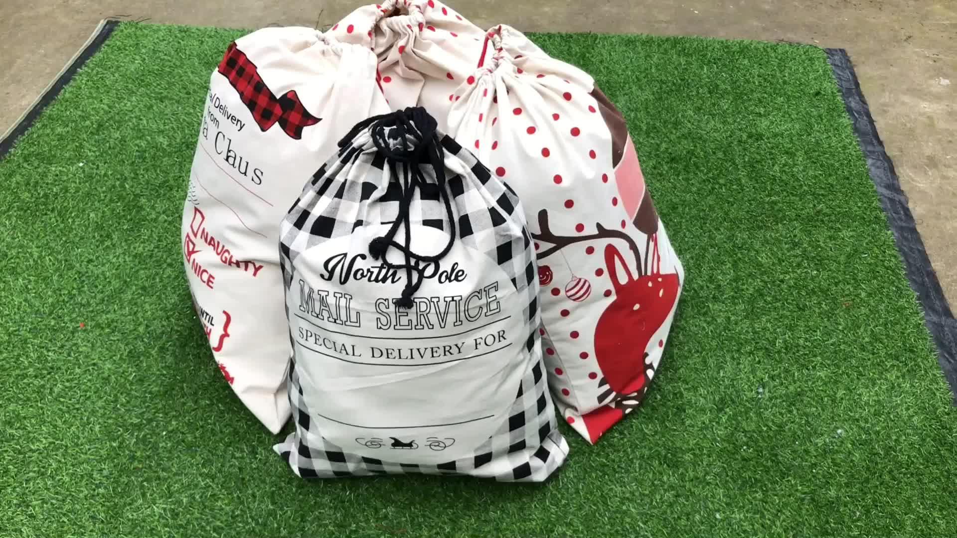 2020 Novos Produtos De Natal Decorativo Presente de Santa Saco de Lona Em Branco Saco de Papai Noel Com Cordão Personalizado