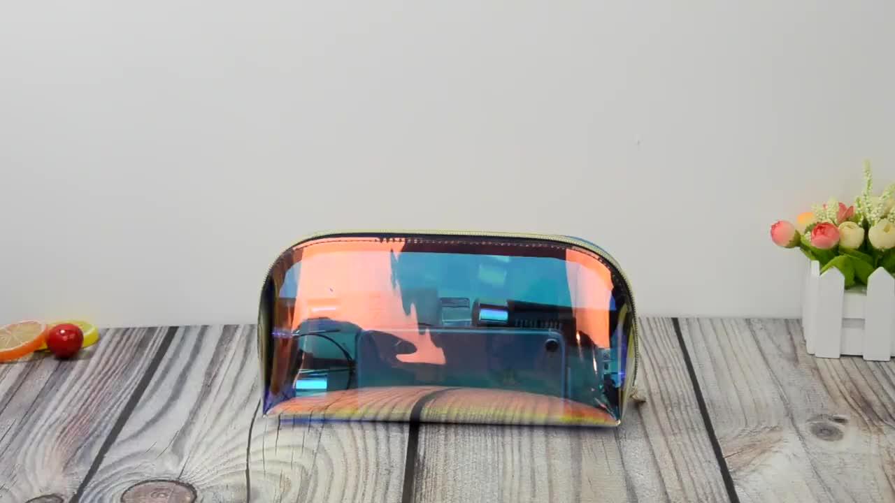 卸売プロモーションファンシー PVC 化粧品 + バッグのためのホログラフィック TPU メイクジップロックバッグ