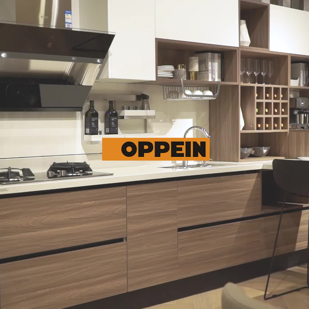 OPPEIN low price White and Wood Grain color kitchen furniture set