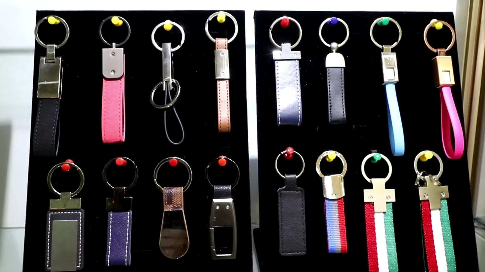 Top quality multifunctional red black brown handmade pu leather key chain / keychain carabiner
