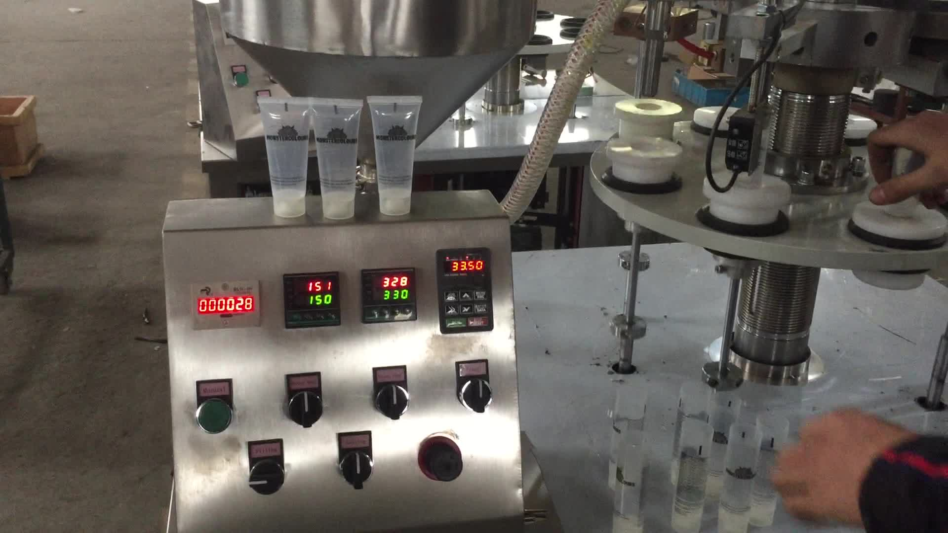High quality cosmetic cream plastic soft tube filling and sealing machine