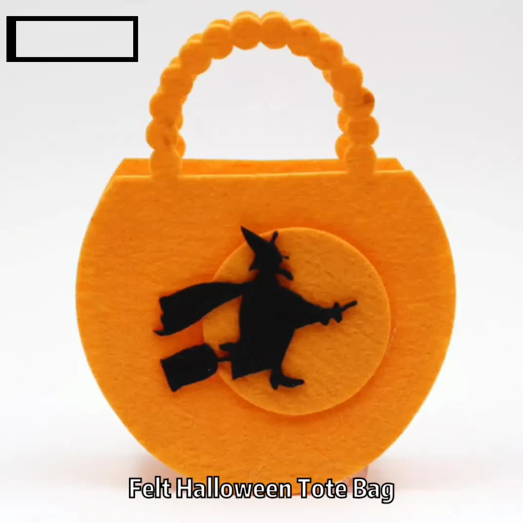 Promotional Halloween Kids Pumpkin Shopping Bags Small Tote Bags