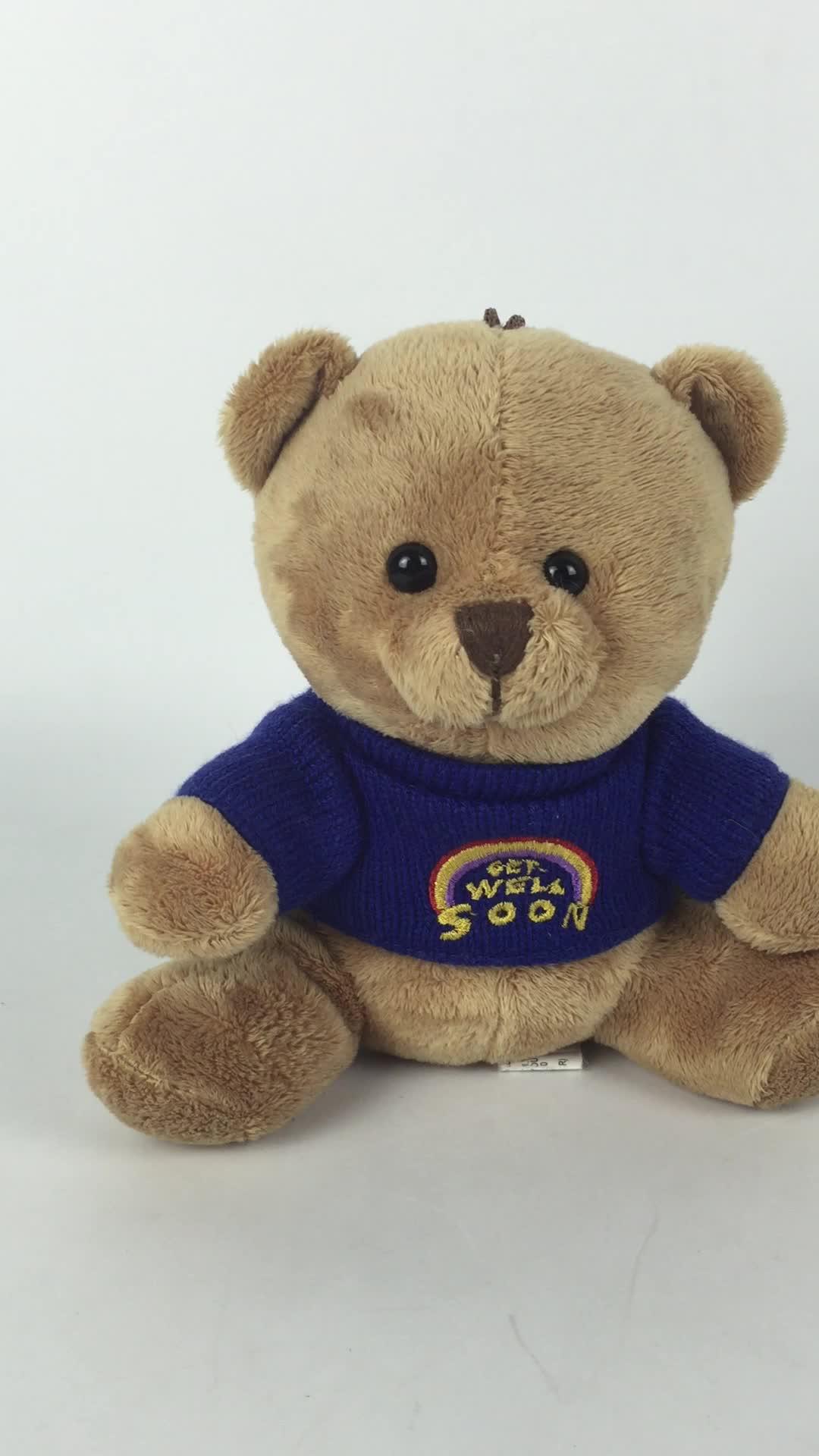 Commercio all'ingrosso molle del bambino del giocattolo della peluche teddy bear in maglione blu con l'alta qualità