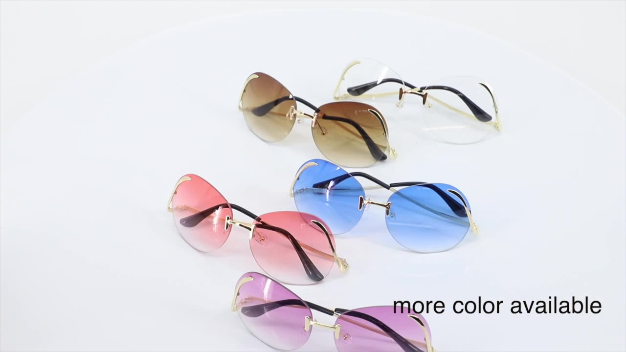 2021 Brand Designer Newest Fashion Rimless Bend Leg Trendy Colorful Lens Women Sun Glasses Oversize Shades Sunglasses 2020