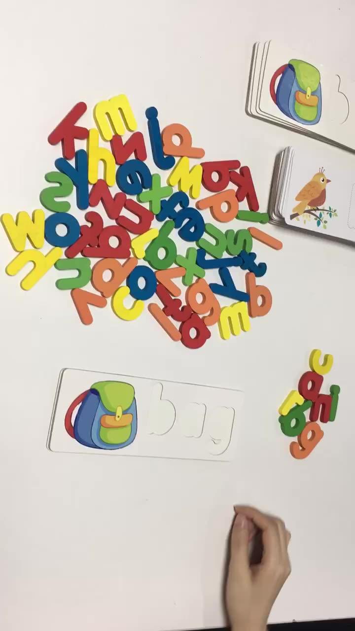 Jouet éducatif en bois, jeu de découverte de l'alphabet, apprentissage de l'alphabet et de l'alphabet, blocs de lettres assortis, pour le développement des mots, dernière nouveauté