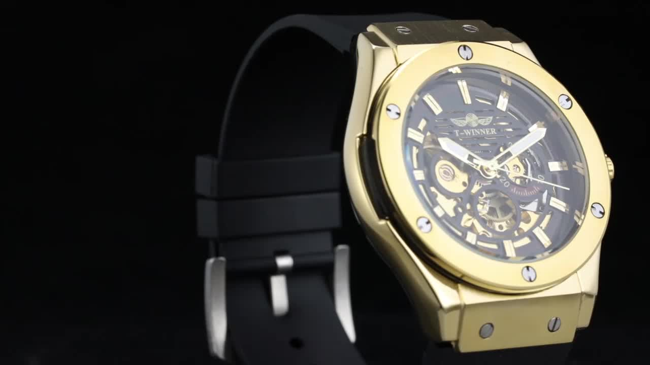2018 Top Brand T-winner Automatic New Wholesale Fashion Skeleton Rubber Band Mens Watches