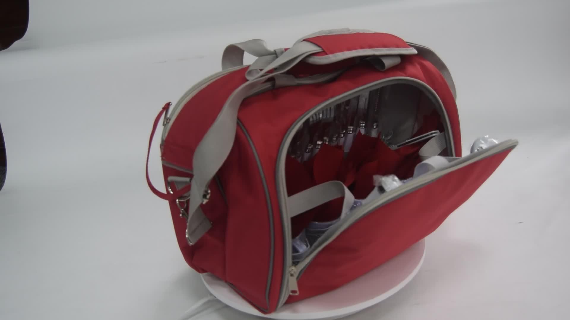 Hot Sell OEM Cooler Picnic Bag Outdoor Insulated Picnic Basket Set 4Person Picnic Bag with Cooler Aluminum foil Lining