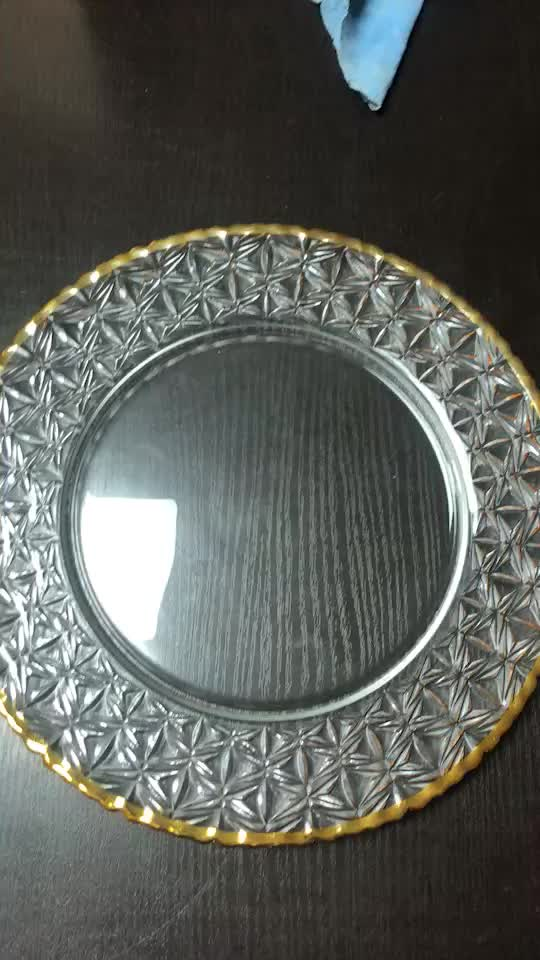 Wedding Tableware Royal Gold Rim Plated Glass Charger Plate Under Plate