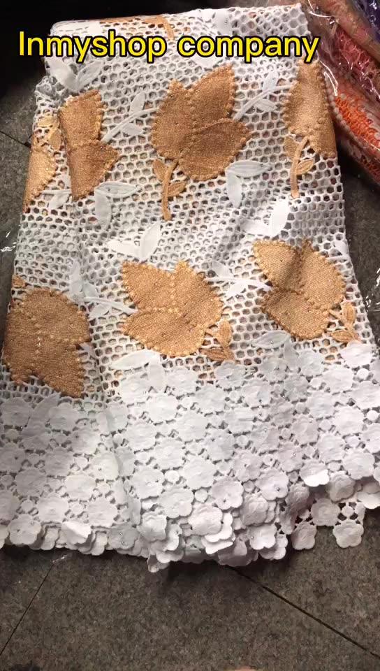 Putih Afrika Katun Bordir Tali Renda Kain Nigeria Guipure Renda untuk Pernikahan