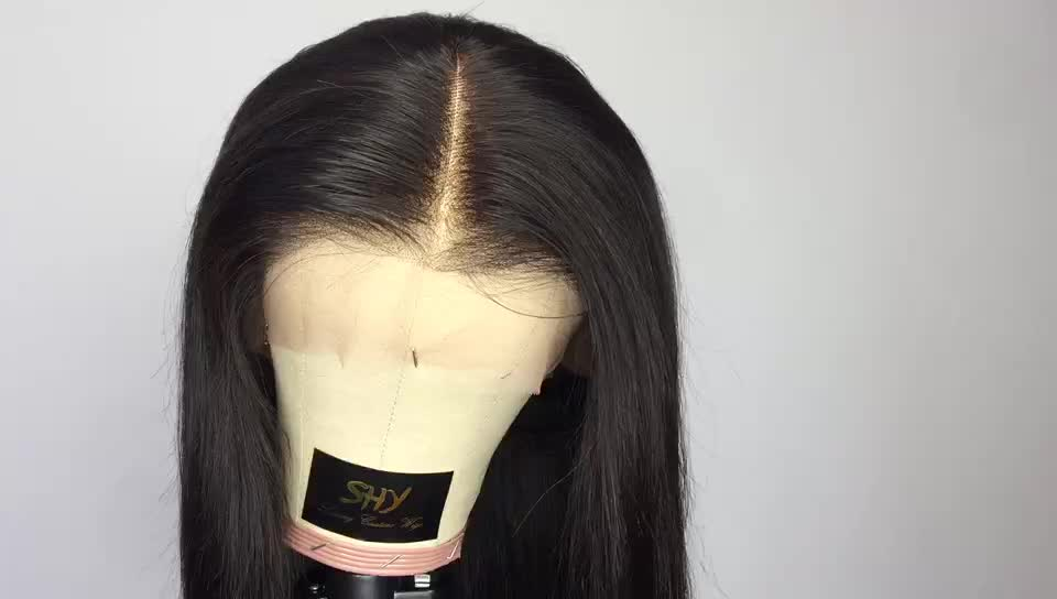 Free Sample Human Full Lace Wig With Baby Hair Silky Straight