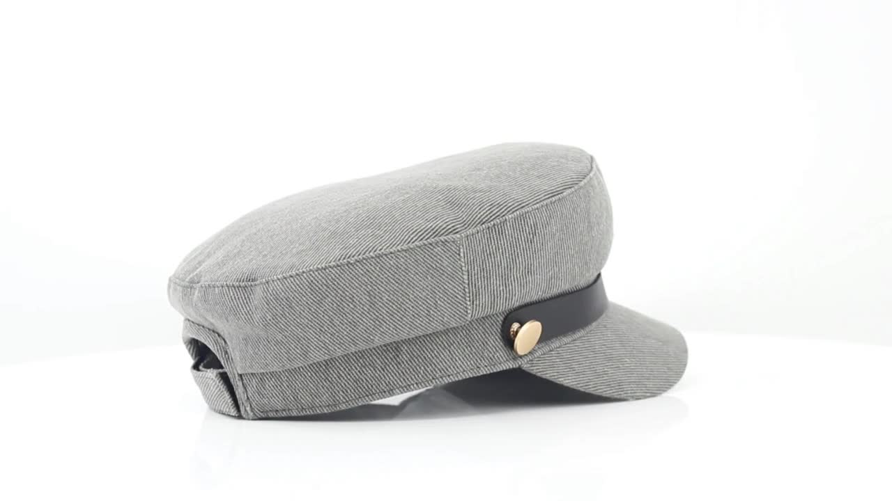 Custom cotton twill fabric checked lining army military caps hats with self fabric strap hook and loop adjuster for lady woman
