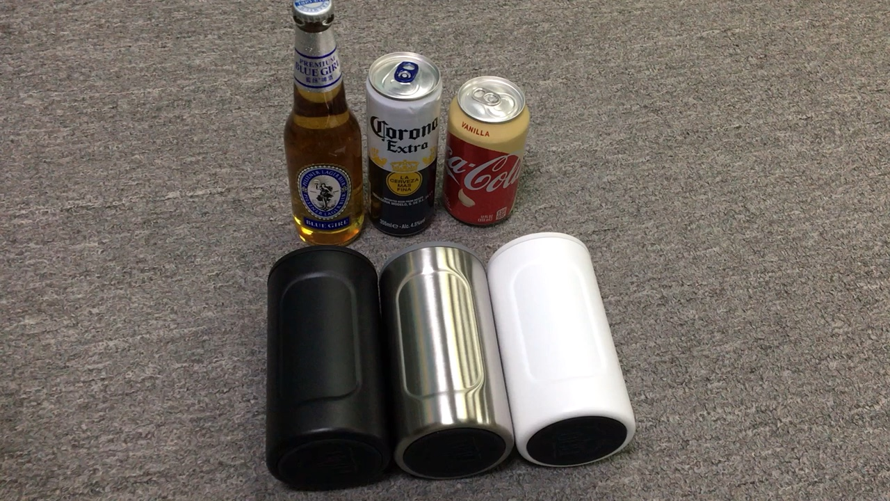 custom 4 in 1 stainless steel triple insulated double wall beverage skinny 12 oz slim can bottle cooler holder insulator