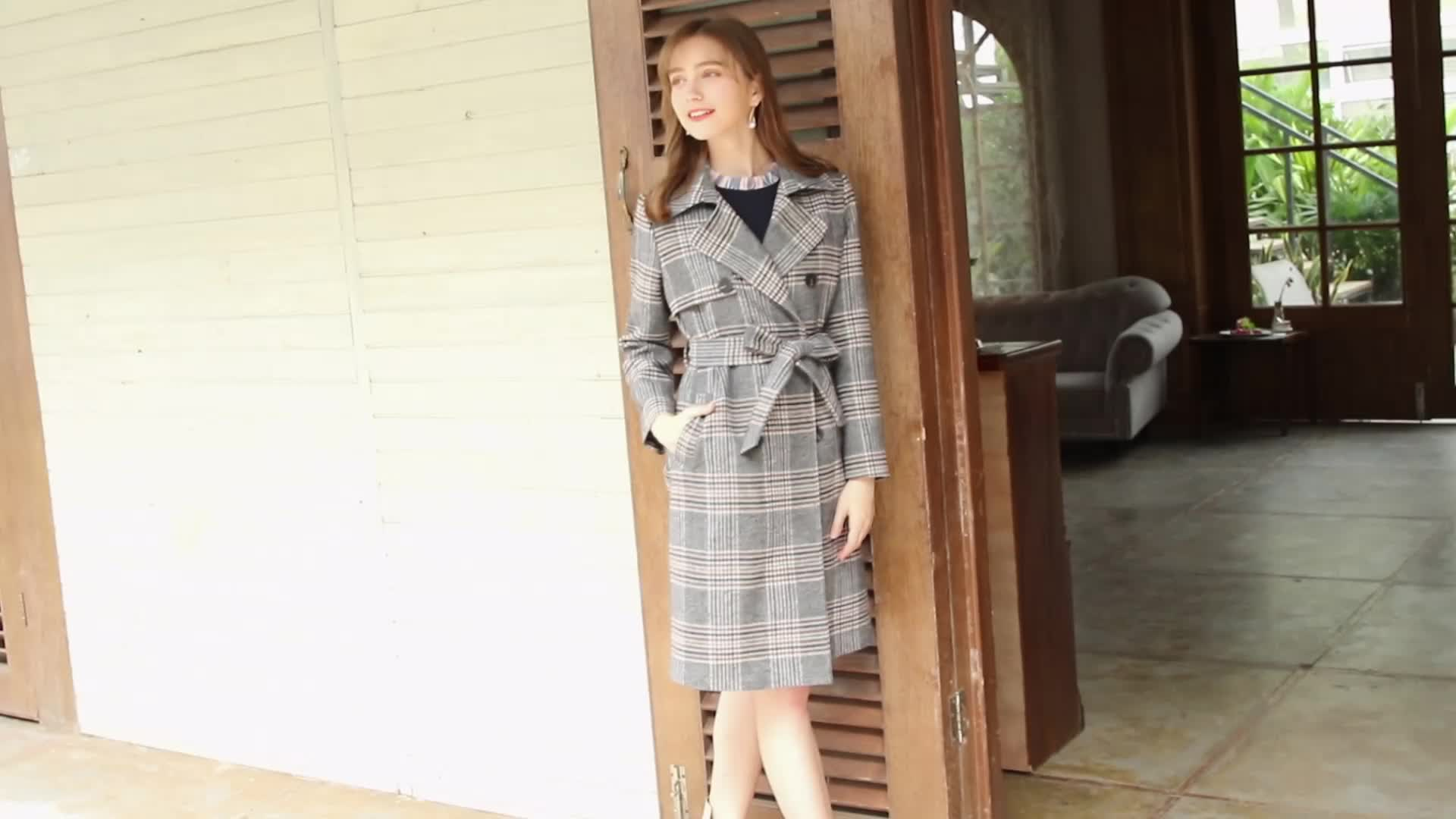 2019 winter casual check women's outwear lapel double-breasted plaid ladies slim wool coat