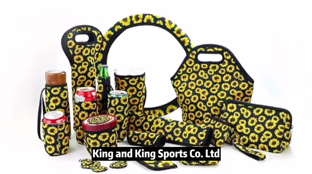 For Picnic Wholesale Sunflower Print Insulated Lunch Bag Neoprene Lunch Tote bags For Woman RTS